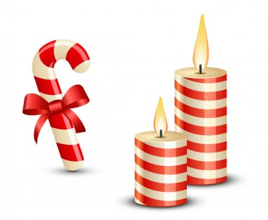 Christmas Candy Cane and Candles