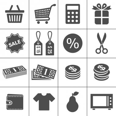 Shopping icons set - Simplus series