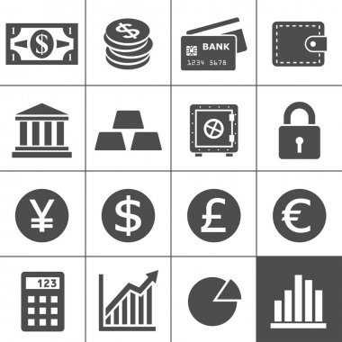 Finance Icons. Each icon is a single object (compound path) stock vector