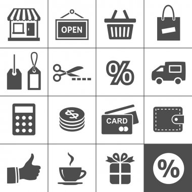 Shopping Icon Set. Each icon is a single object (compound path) stock vector