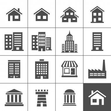 Building Icons Set. Vector illustration. Simplus series stock vector