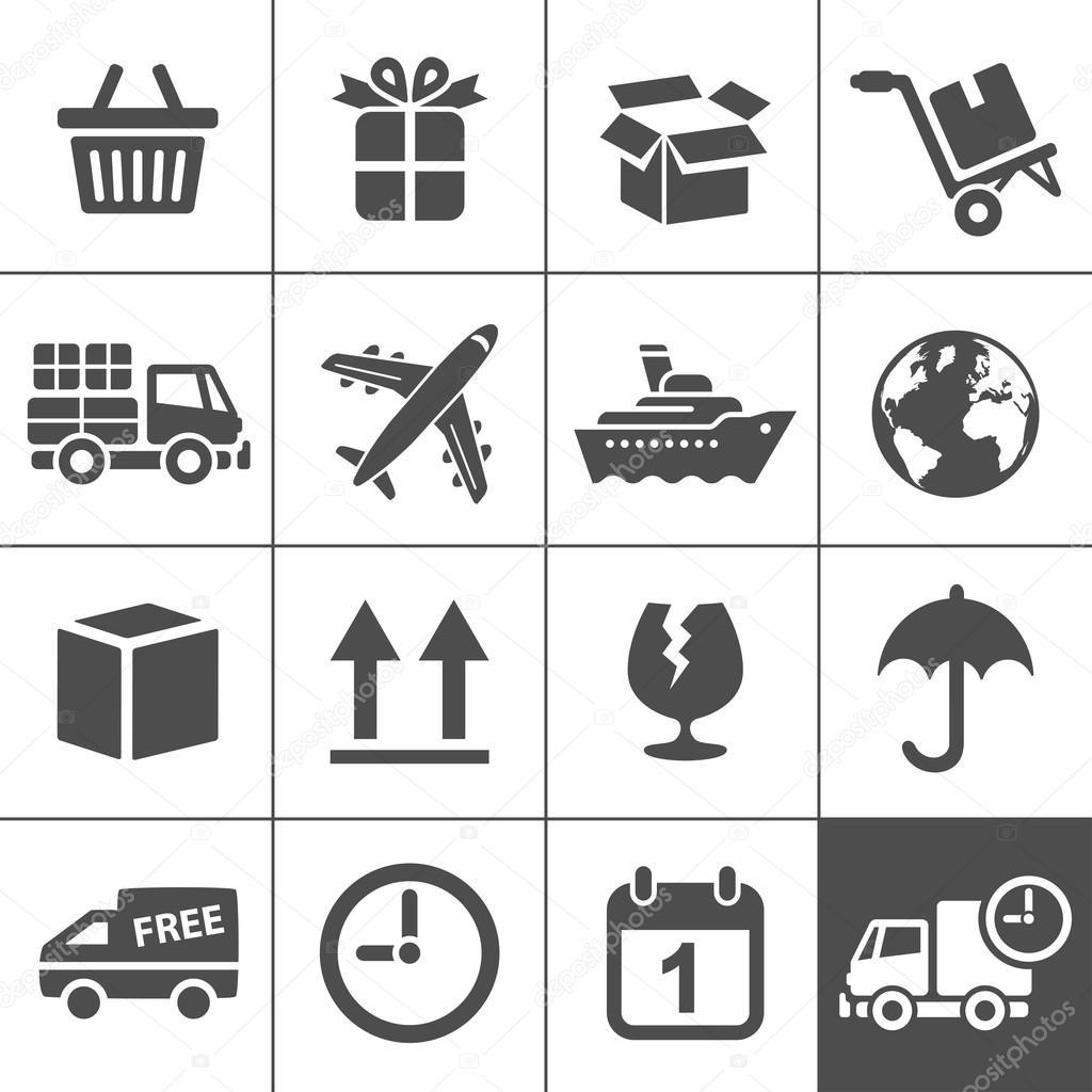 Logistics icons set. Simplus series