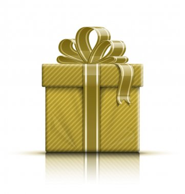 Golden gift box with ribbon and bow
