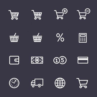 Shopping Icon Set. Icons for online shop stock vector