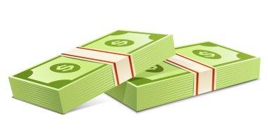 Pack of dollars. Vector illustration. Packs of dollars money