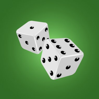 Two white dices on the green background