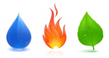 Water drop, fire and leaf