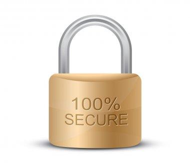 Metallic padlock. 100% Secure