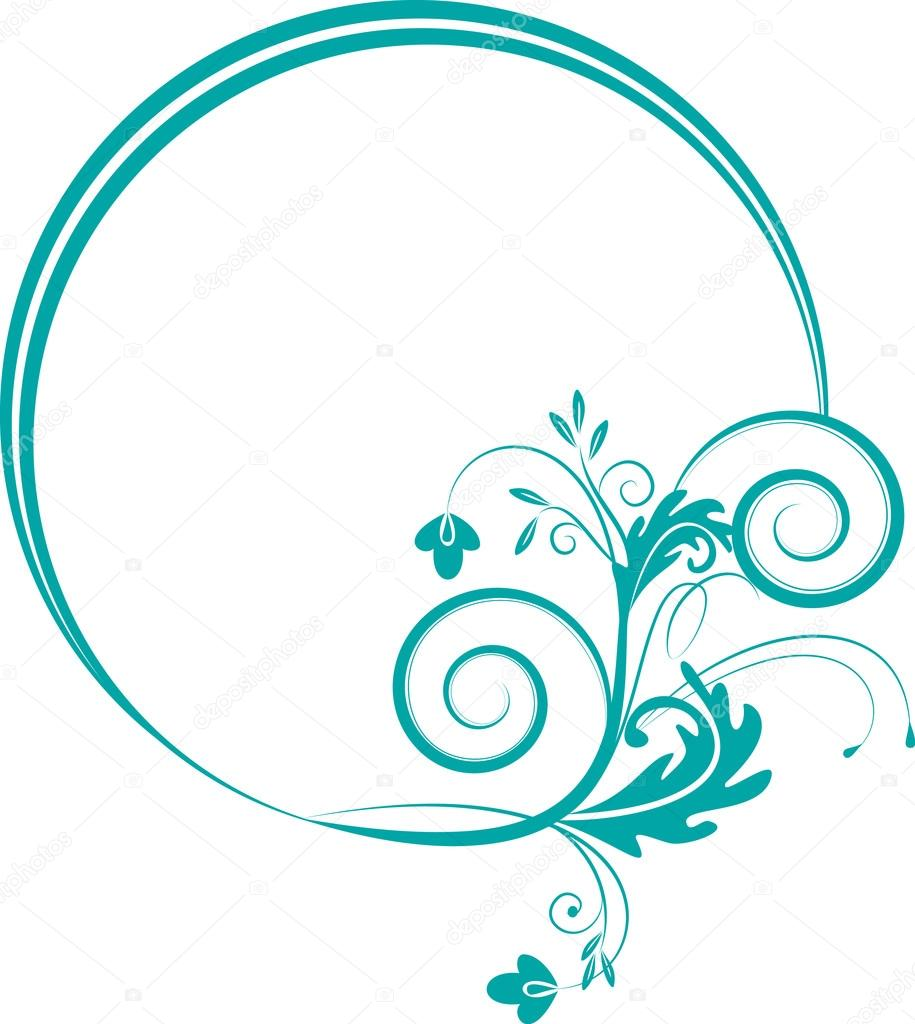 Round frame with decorative branch vector illustration stock - Decorative Oval Frame With Decorative Branch Stock Vector 12674816