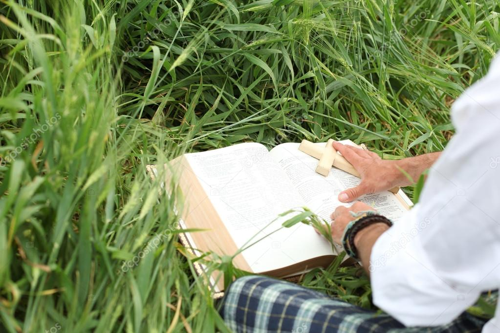 Man reading bible in summer