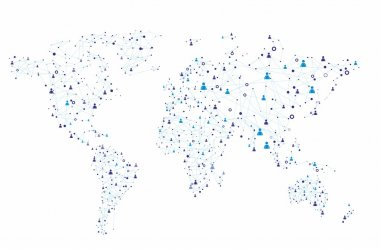 Global human connection on the white background stock vector