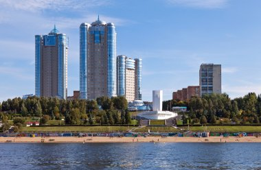 View of the city of Samara in the Volga River in the