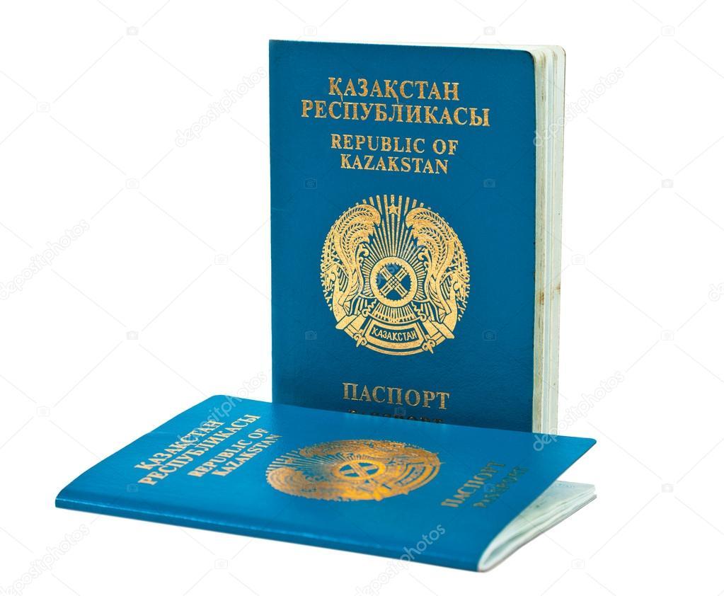 Kazakhstan passport isolated on white