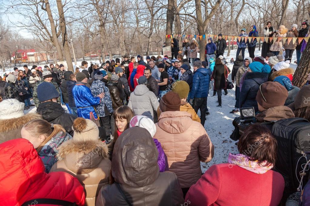 RUSSIA, SAMARA - March 2, 2014: Samara youth celebrates Shroveti