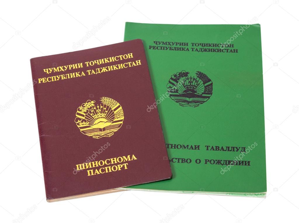 Tajikistan passport and birth certificate isolated on the white ...