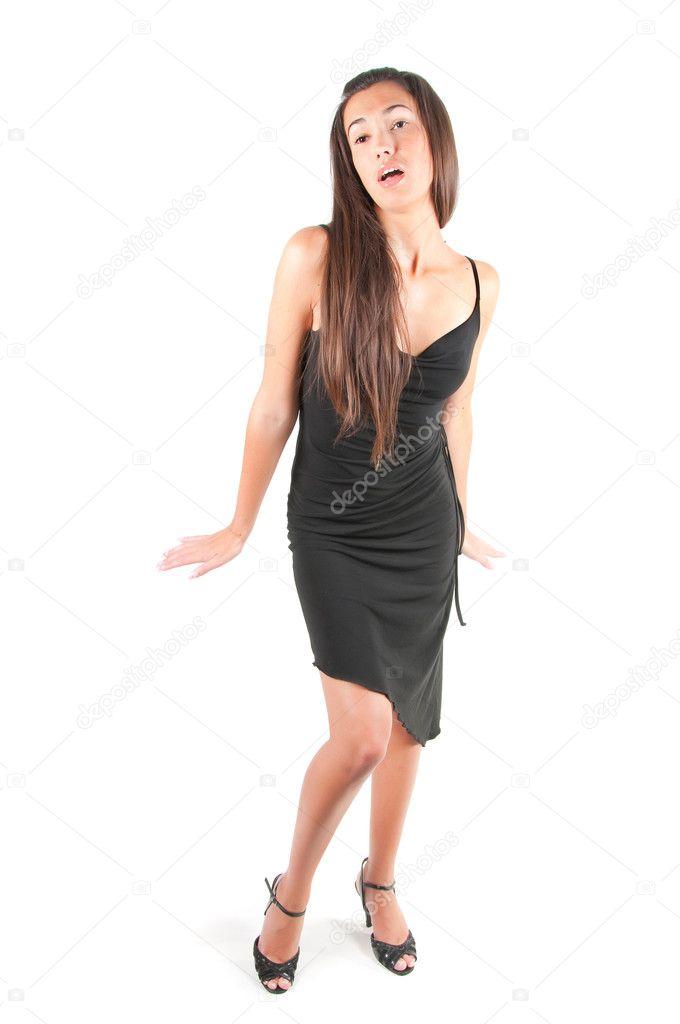 f3b1f64e15dc bella donna in tubino nero — Foto Stock © anytka  25194697
