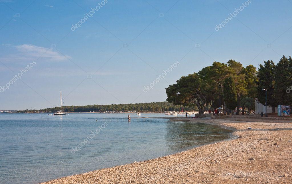 Beach In The Early Morning Istria Fazana Croatia Stock Photo