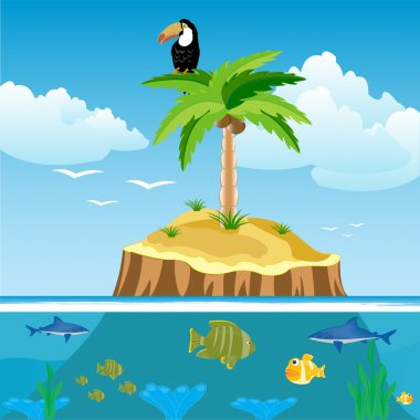 Desert island and undersea world