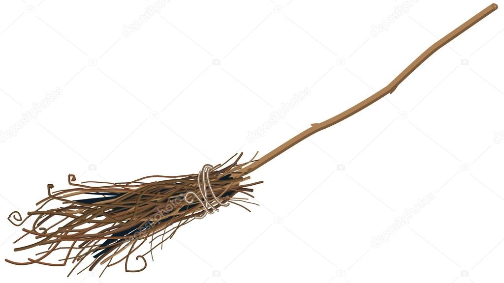 Old broom isolated