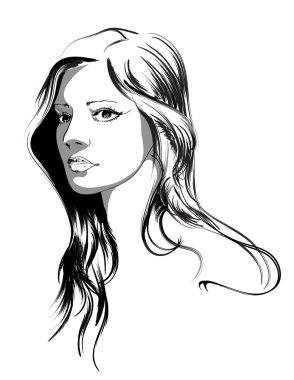 Beauty girl face clip art vector
