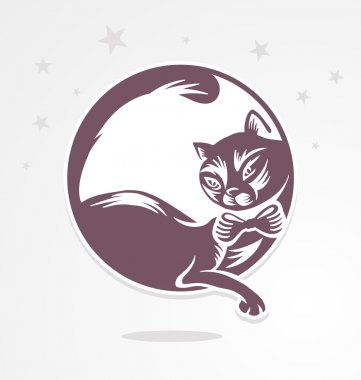 Romantic cat who sits on the moon.