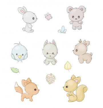 set of cute forest animals