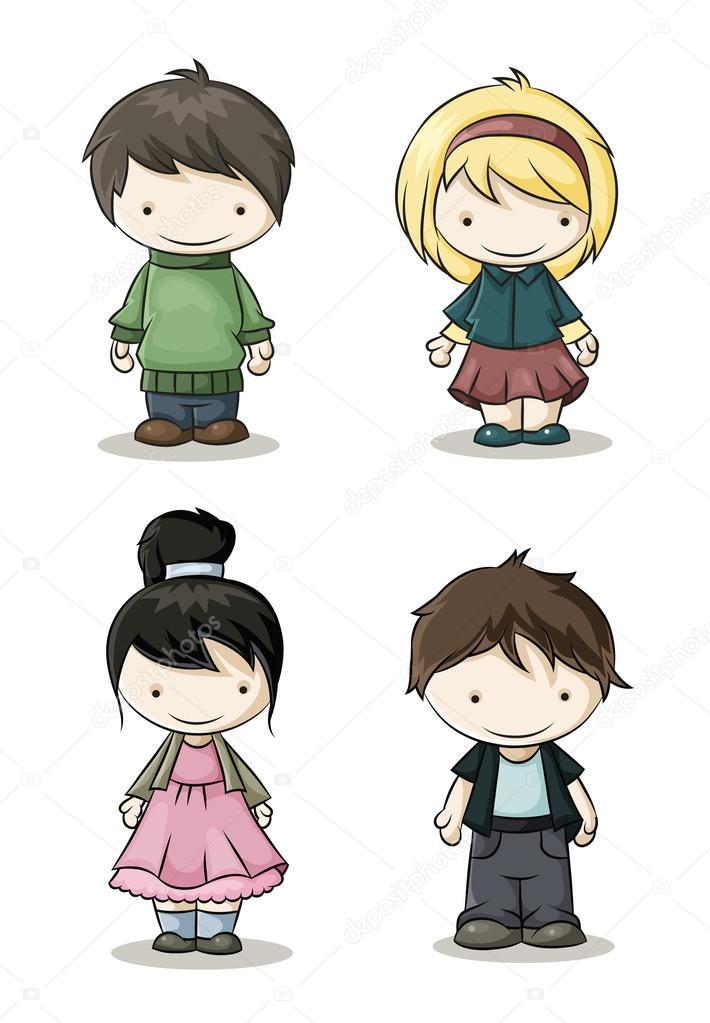 chicos y chicas de color — Vector de stock © Veronichka #37451745