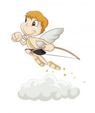 Little Cupid flying above the clouds clip art vector