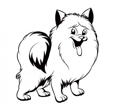 black and white drawing of the dog