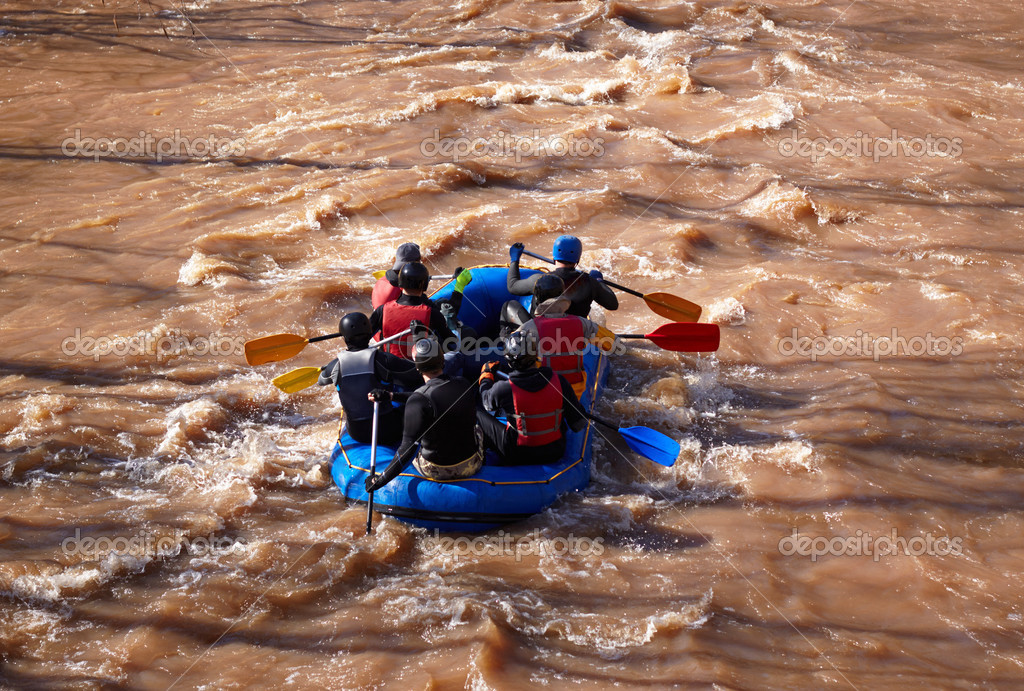 rubber boat in the river