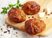 Escalopes de juteuse viande frite