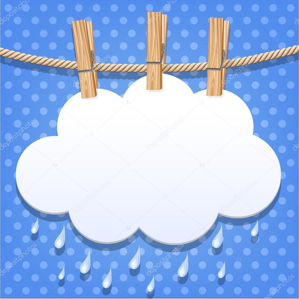 White paper cloud on a clothesline
