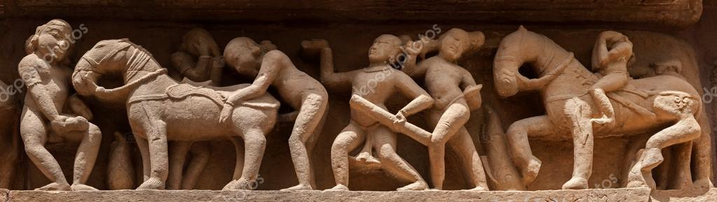 Real erotic sculptures and bas-reliefs