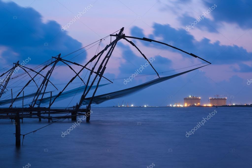 Chinese fishnets in twilight. Kochi, Kerala, India