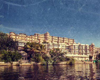 City Palace view from the lake. Udaipur, Rajasthan, India