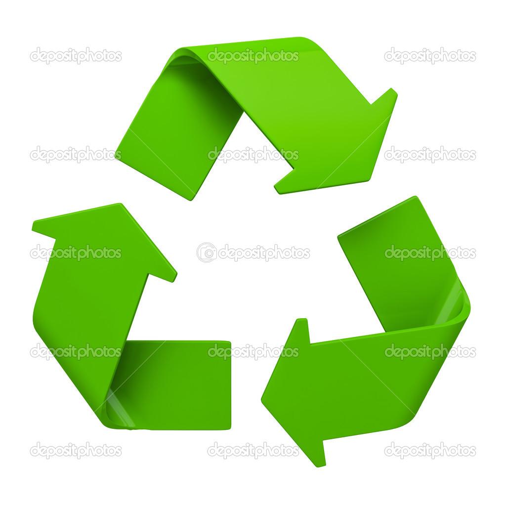 s237mbolo de reciclagem verde isolado no branco � stock