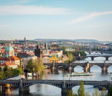 Travel Prague concept background - elevated view of bridges over Vltava river from Letna Park. Prague, Czech Republic stock vector