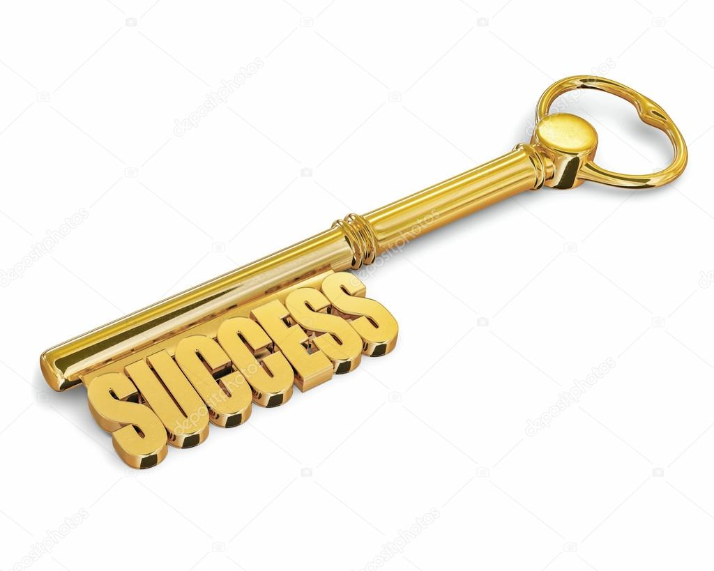 Key to success made of gold isolated