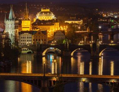 Travel Prague concept background - elevated view of bridges over Vltava river from Letna Park. Prague, Czech Republic in twilight stock vector