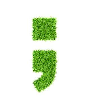 Grass alphabet semicolon period comma