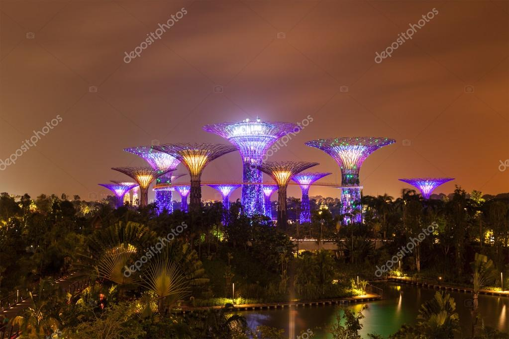 Garden By The Bay Futuristic Part Night View Singapore Stock