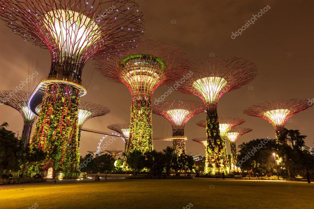 garden by the bay futuristic part night view singapore stock photo 45097409