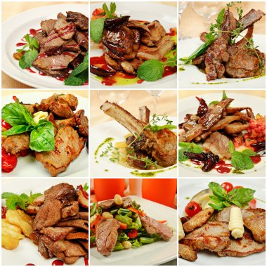 Collage with meat meals