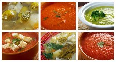 Food set of different vegetable soups.