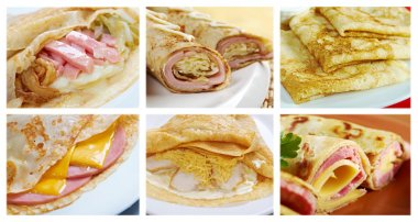 Food set of different rolled pancakes