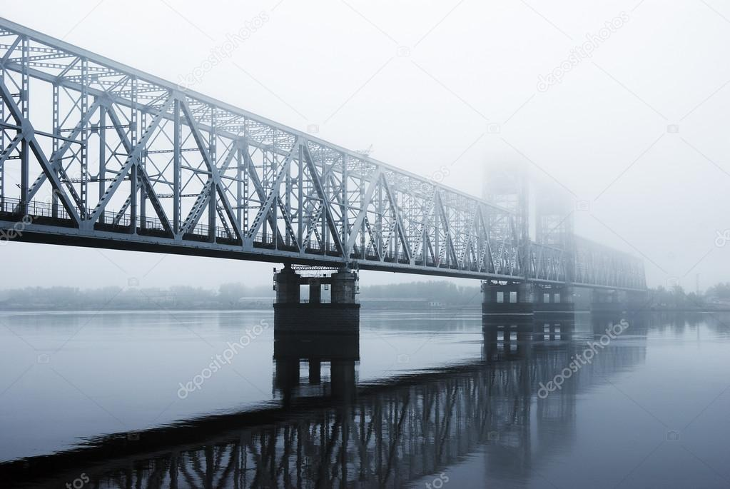 railway bridge through the river