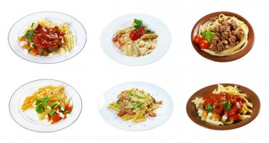 Food set of different  italian pasta.