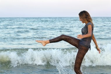 girl having fun in the sea