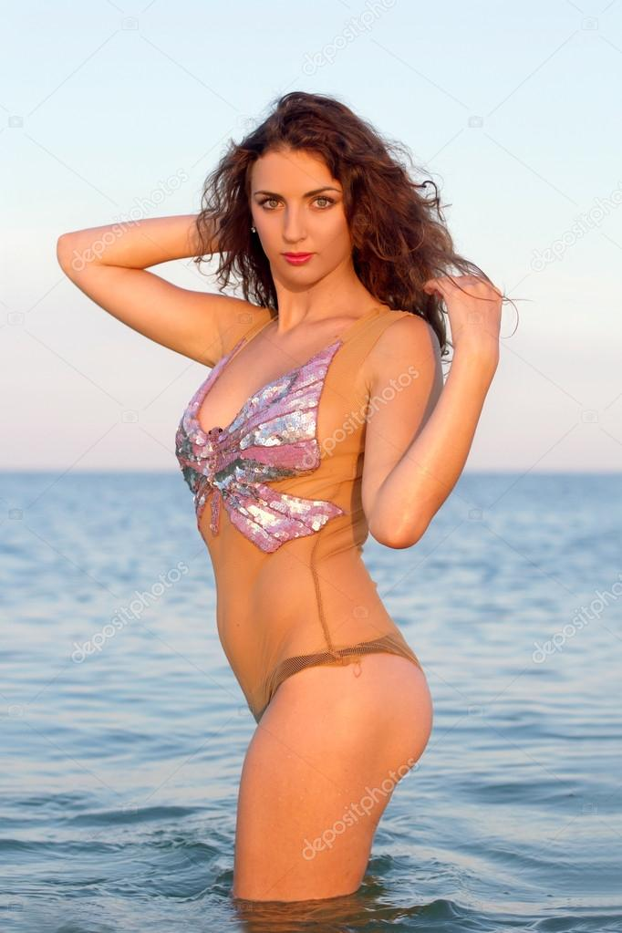 beautiful young woman in the water