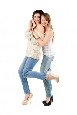 Two smiling caucasian women